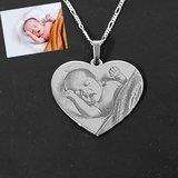 Zilveren ketting hanger met foto hart