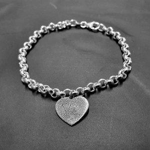 Zilveren armband met vingerafdruk- Jasseron schakel