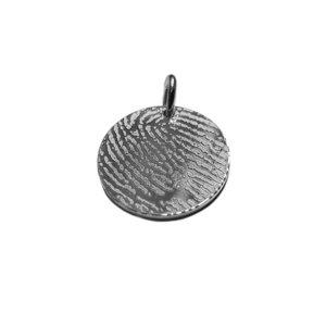 Zilveren cirkel bedel met vingerafdruk